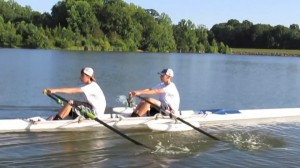 Adding pressure to the stroke (notice bend in oars)