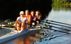 double scullers team up in a quad
